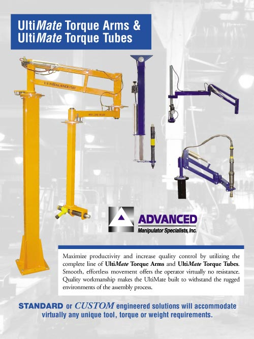 Preview of the Torque Arms Brochure from Advanced Manipulator Specialists, Inc.