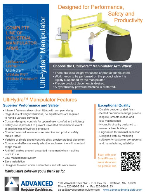 Preview of the UltiHydra Brochure from Advanced Manipulator Specialists, Inc.