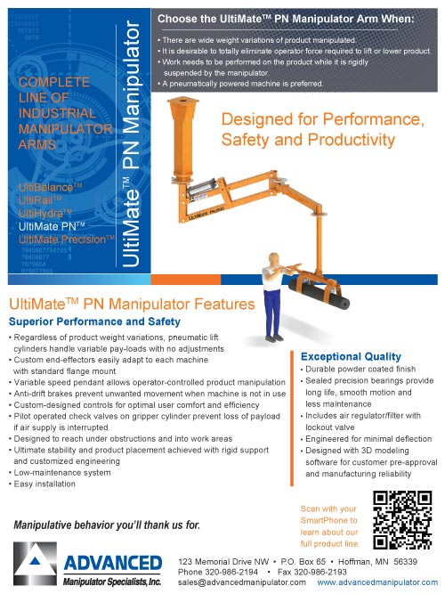 Preview of the UltiMate PN Brochure from Advanced Manipulator Specialists, Inc.
