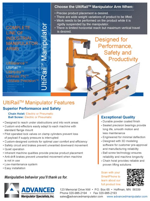 Preview of the UltiRail Brochure from Advanced Manipulator Specialists, Inc.