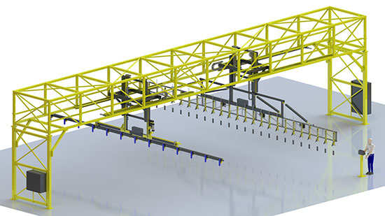 3D rendering of an industrial automation system